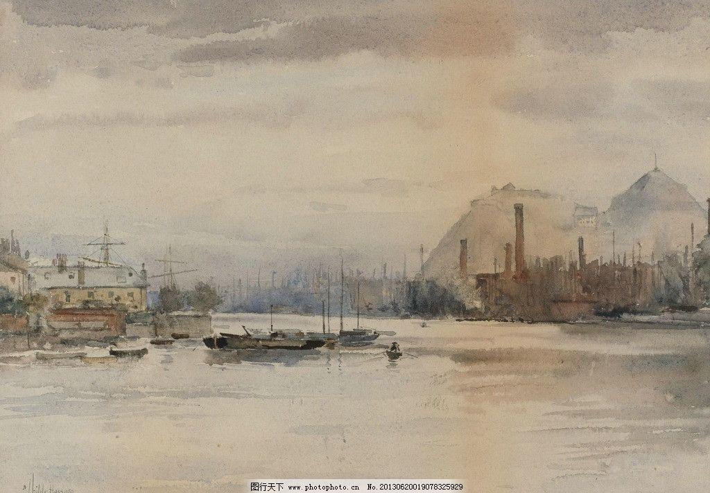大海油画 大海 海边 港口 码头 渔船 海边城市 风光画 风景画 山水画