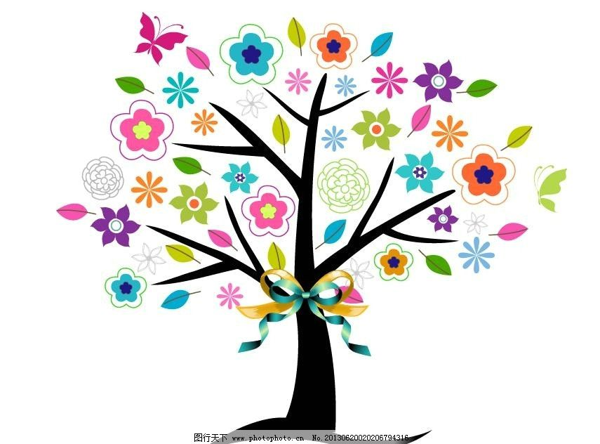 手绘插画 花卉树 矢量素材 背景素材 卡通插画 蝴蝶 线稿 矢量花卉树