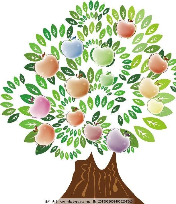七彩苹果树 七彩 缤纷 矢量 苹果树 树 果实 成长 自然风景 自然景观
