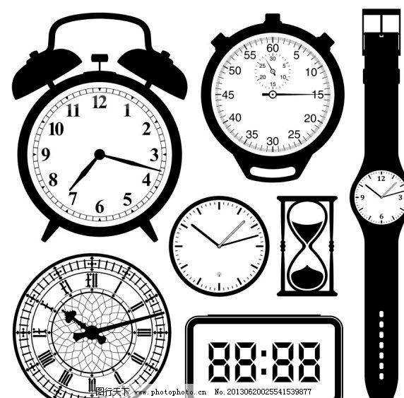 黑白钟表矢量图图片