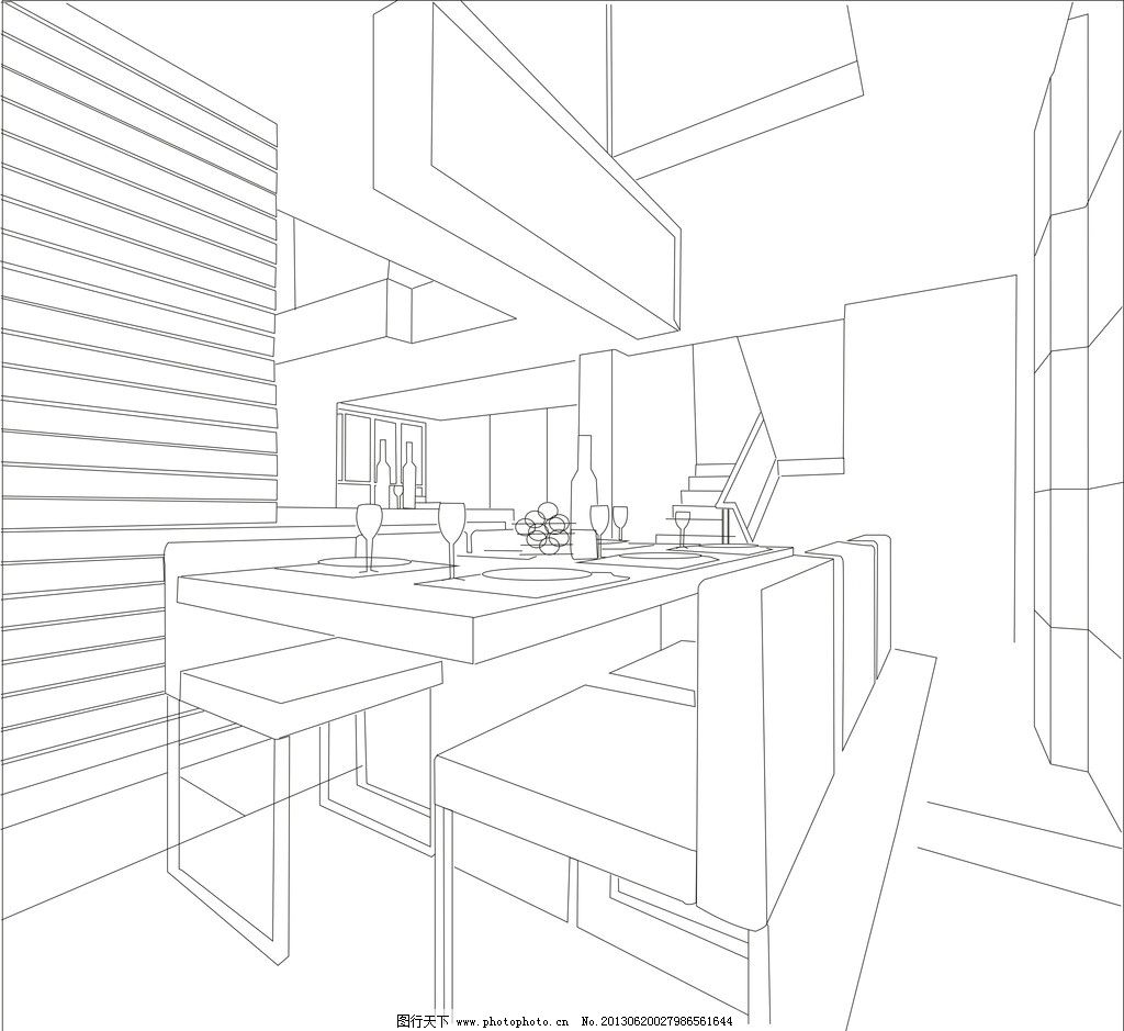 效果图 室内效果图 杯子 椅子 线条 墙 建筑家居 矢量