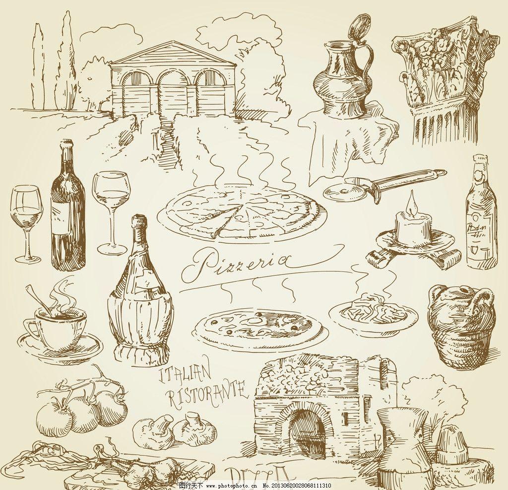 手绘食物 手绘 线稿 插画 速写 比萨饼 素描 食物 咖啡厅 西餐 手绘