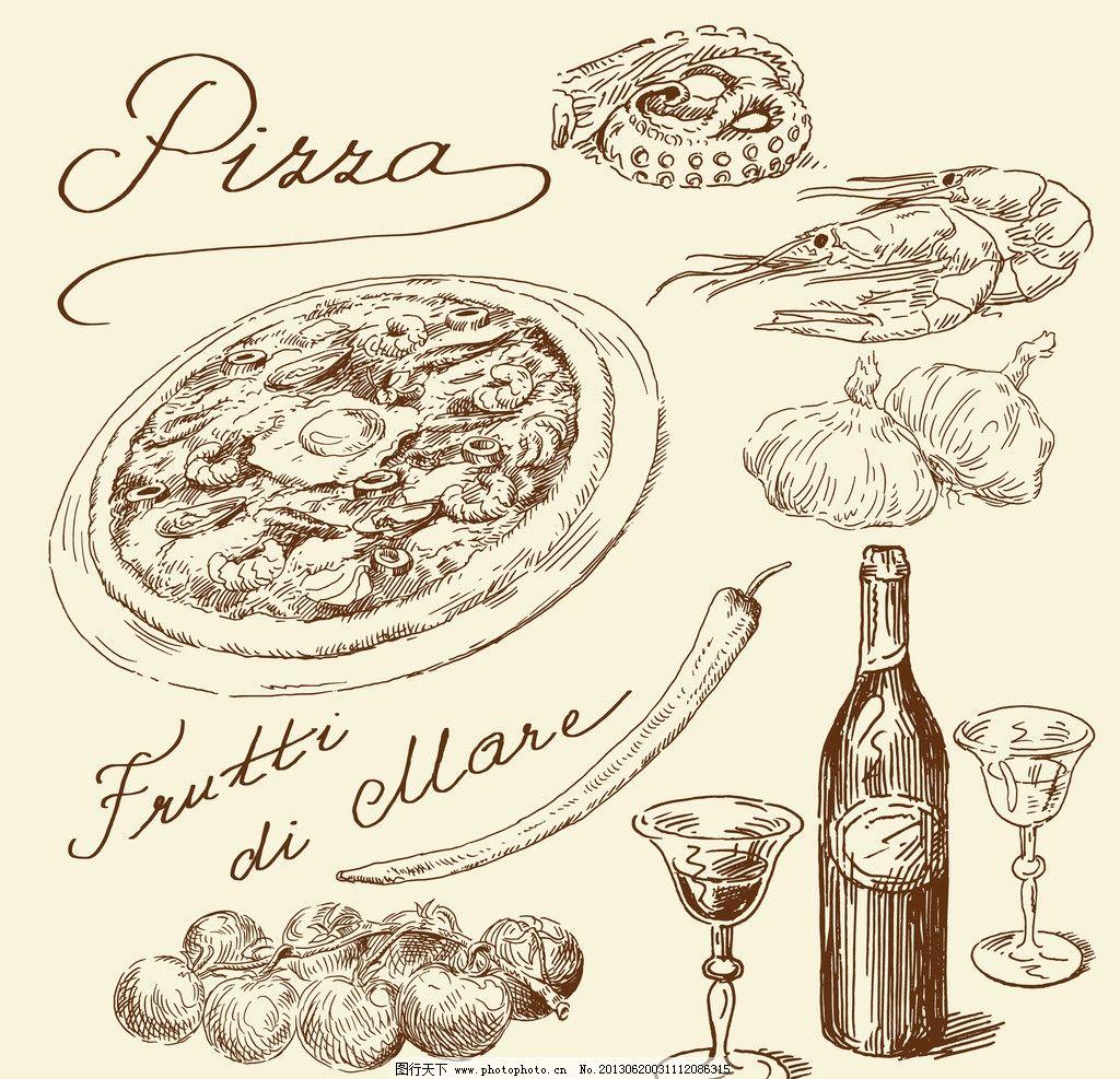 食物 咖啡厅 西餐 手绘比萨饼 批萨 葡萄酒 红酒 咖啡 饮料 矢量素材