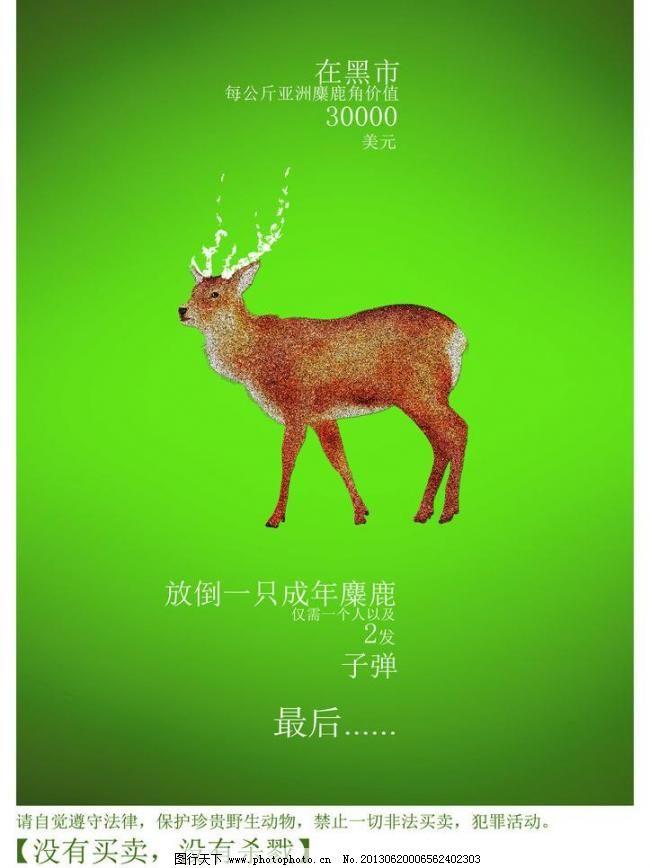 保护动物海报 毕业设计 创意 公益海报 广告设计模板 鹿 野生动物