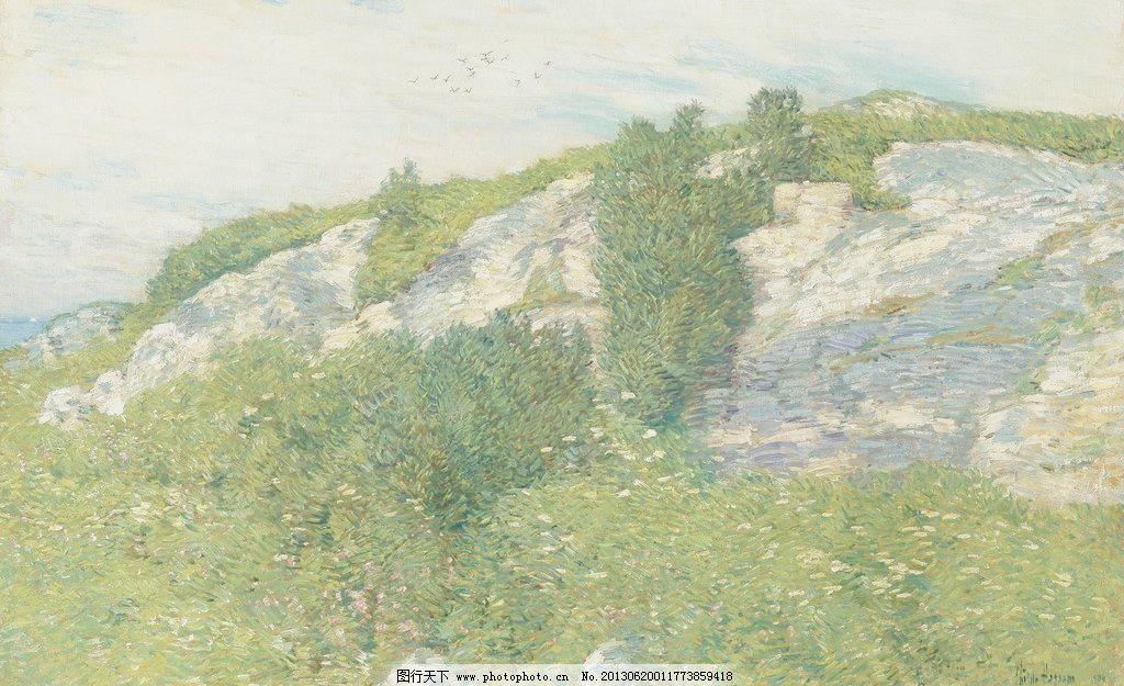 自然油画 大自然 绿树 绿植 高山 山峰 山顶 山峦 风光画 风景画 山水