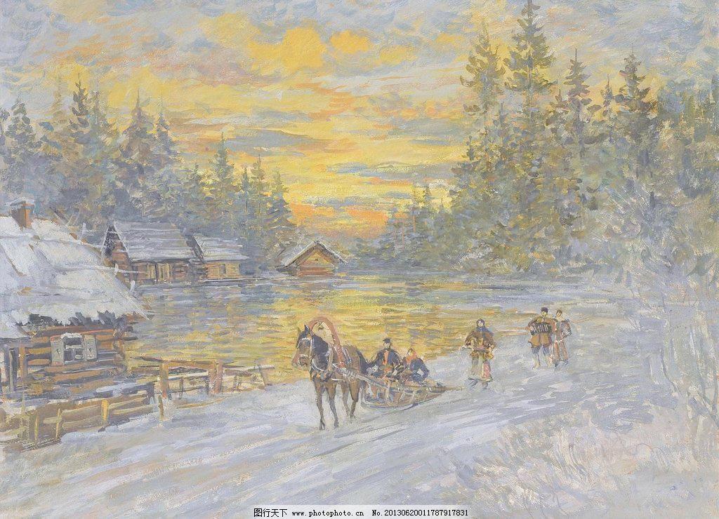 冬季油画 壁画 冰雪 大树 冬天 风光 风景 风景画 冬季油画设计素材