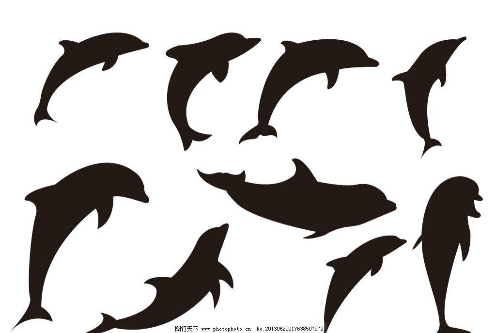 海豚 海豚矢量素材 海豚模板下载 生物世界 海洋生物 海豚剪影 动物