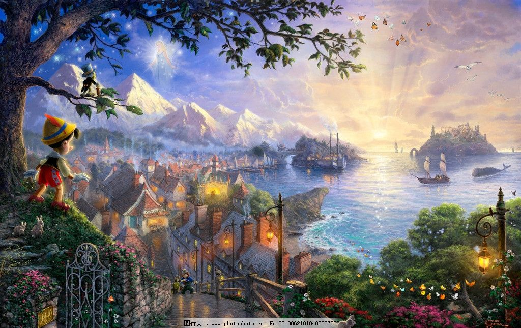 风景动漫 童话世界 仙境 艺术 手绘 高清壁纸 海边 动漫动画