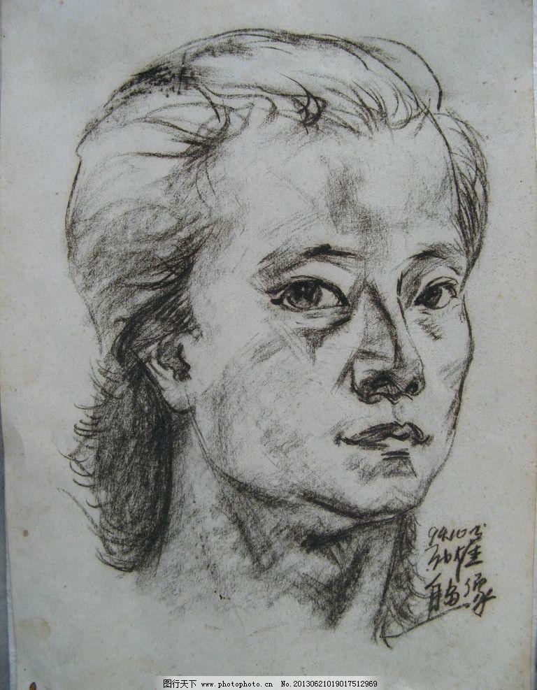 女头像素描图片_绘画书法