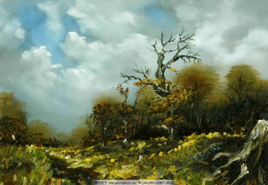 油画风景 蓝天 白云 树木 幻想 插画 数字绘画 艺术 绘画 板绘 手绘