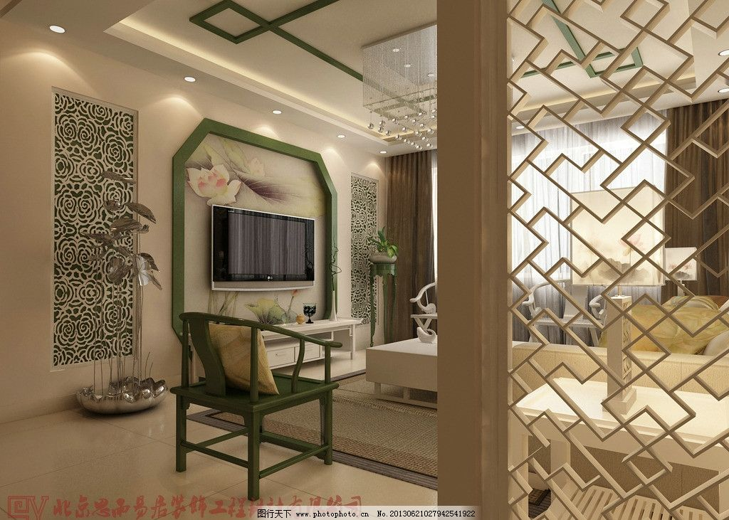 客厅效果图 电视墙效果图 雕花隔断 地毯 盆栽 中式 室内设计 环境