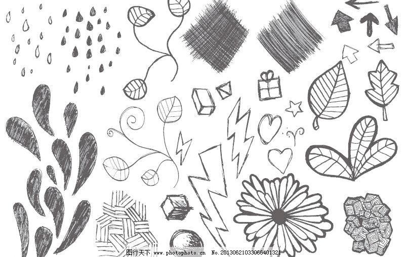 手绘 素描 速写 铅笔画 树叶 花朵 菊花 纹理 藤蔓 枝叶 水滴 雨滴