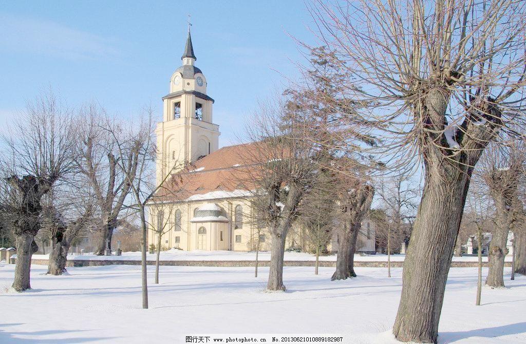 jpg 白雪 风景类 建筑 蓝天 欧式建筑 清新 摄影 下雪 欧式建筑图片