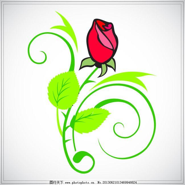 手绘矢量红色玫瑰花 红玫瑰 花草 花朵 花骨朵 花卉 花纹 花纹花卉
