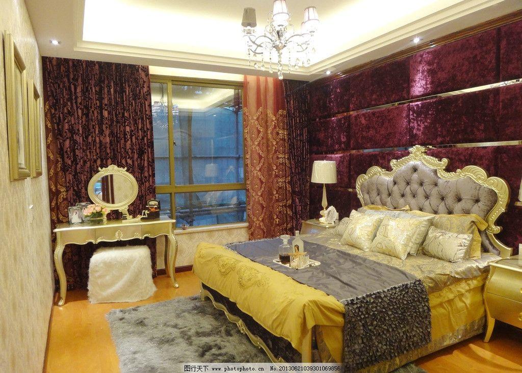 卧室 床 抱枕 枕头 台灯 柜子 欧式桌子 梳妆台 镜子 凳子