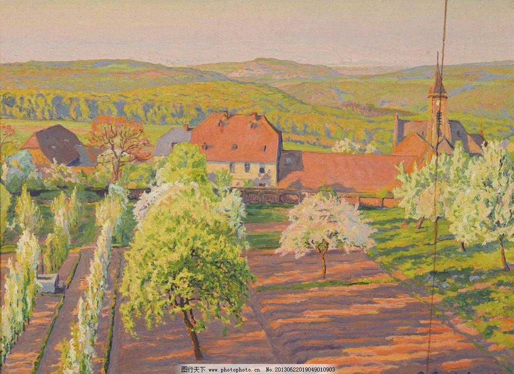 农村 乡下 庄园 大树 树木 绿树 风光画 风景画 山水画 油画 欧洲油画图片