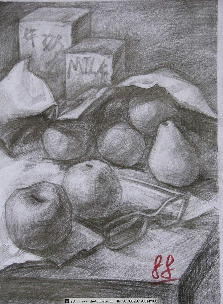 素描设计素材 素描模板下载 素描 静物素描 桌子 布纹 水果 苹果 梨