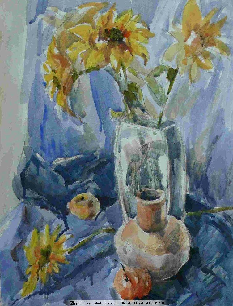 静物花瓶水粉画