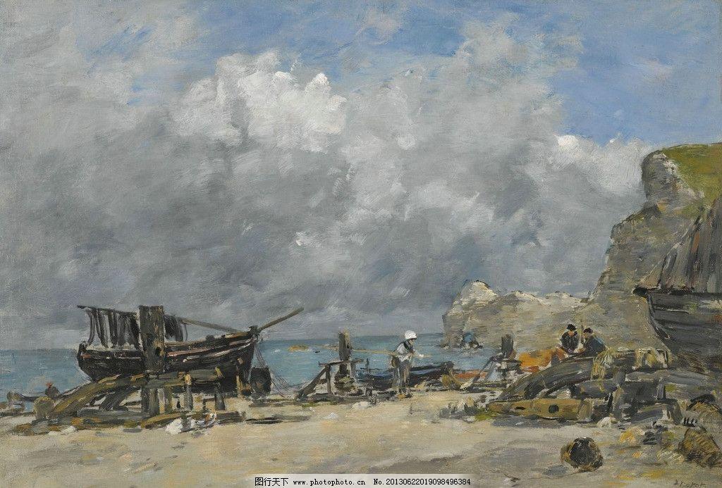 海边油画 海边 大海 海洋 渔船 船只 渔村 打渔 风光画 风景画 山水画
