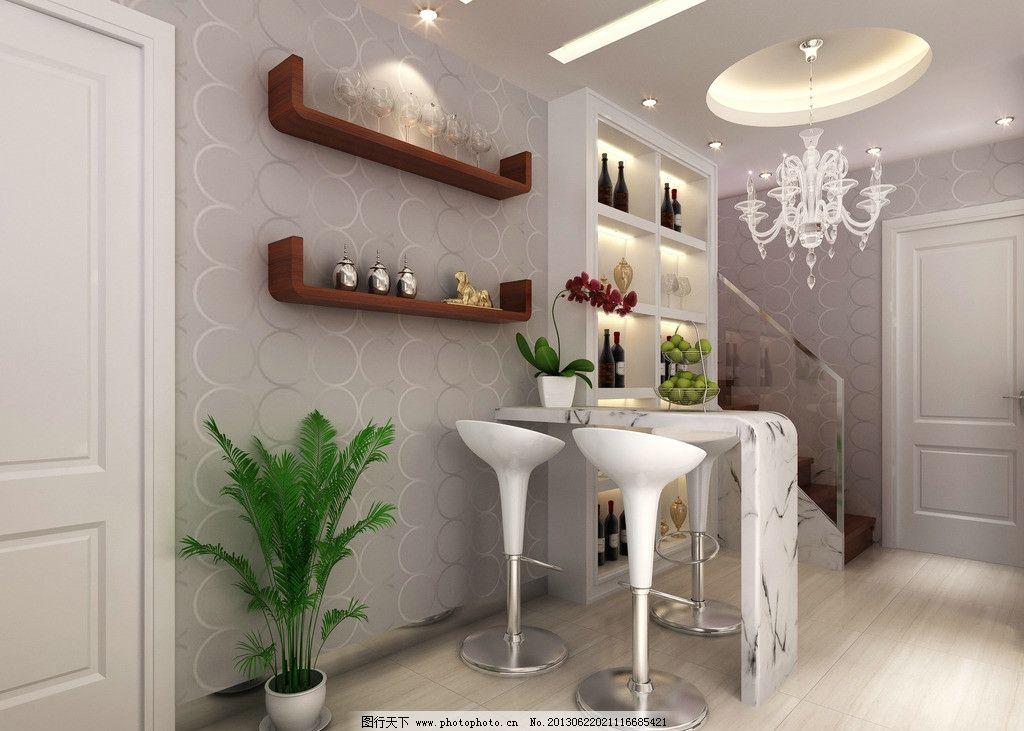 餐厅效果图 吊灯 吧台 植物 门 酒柜 吧椅 3d作品 3d设计 设计 300dpi