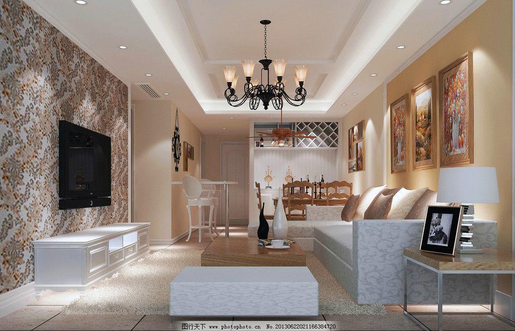 客厅效果图      仿古砖 美式 米色乳胶漆 沙发 吊灯        3d作品