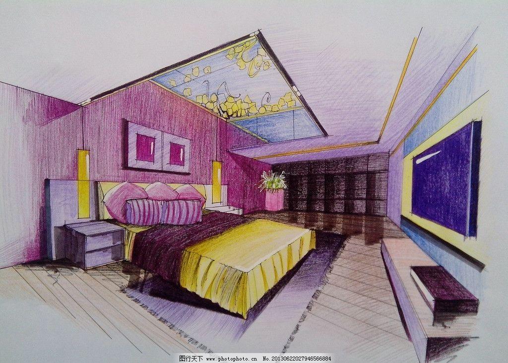 卧室手绘表现效果图 室内      手绘 表现 效果 设计 彩铅 室内设计