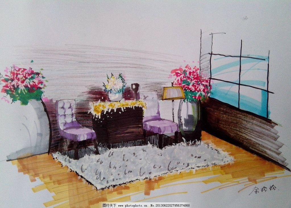 室内手绘表现效果图 手绘 室内 表现 效果 设计 彩铅 家具 室内设计