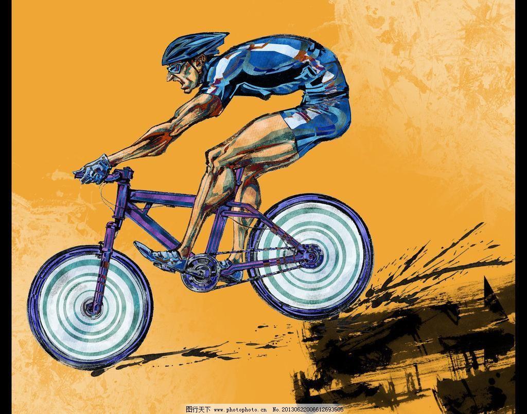手绘人物自行车运动员图片