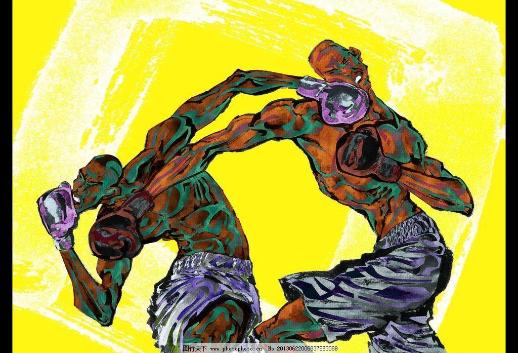 手绘人物拳击运动员图片