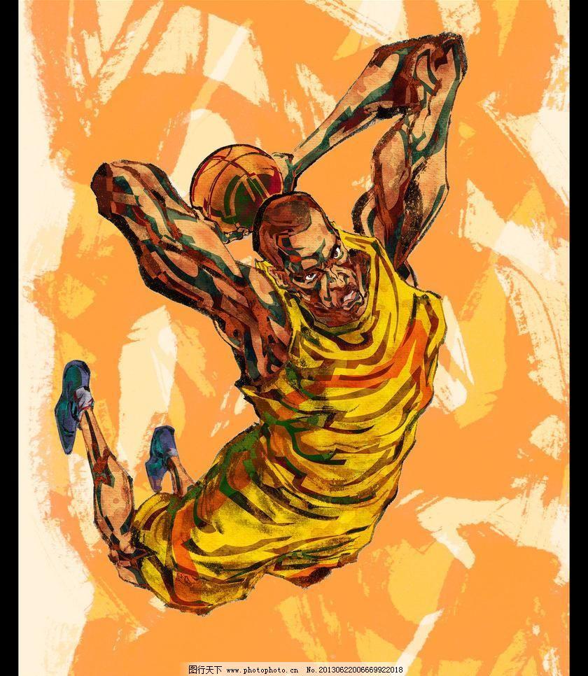 手繪人物籃球運動員圖片_手繪海報_海報設計