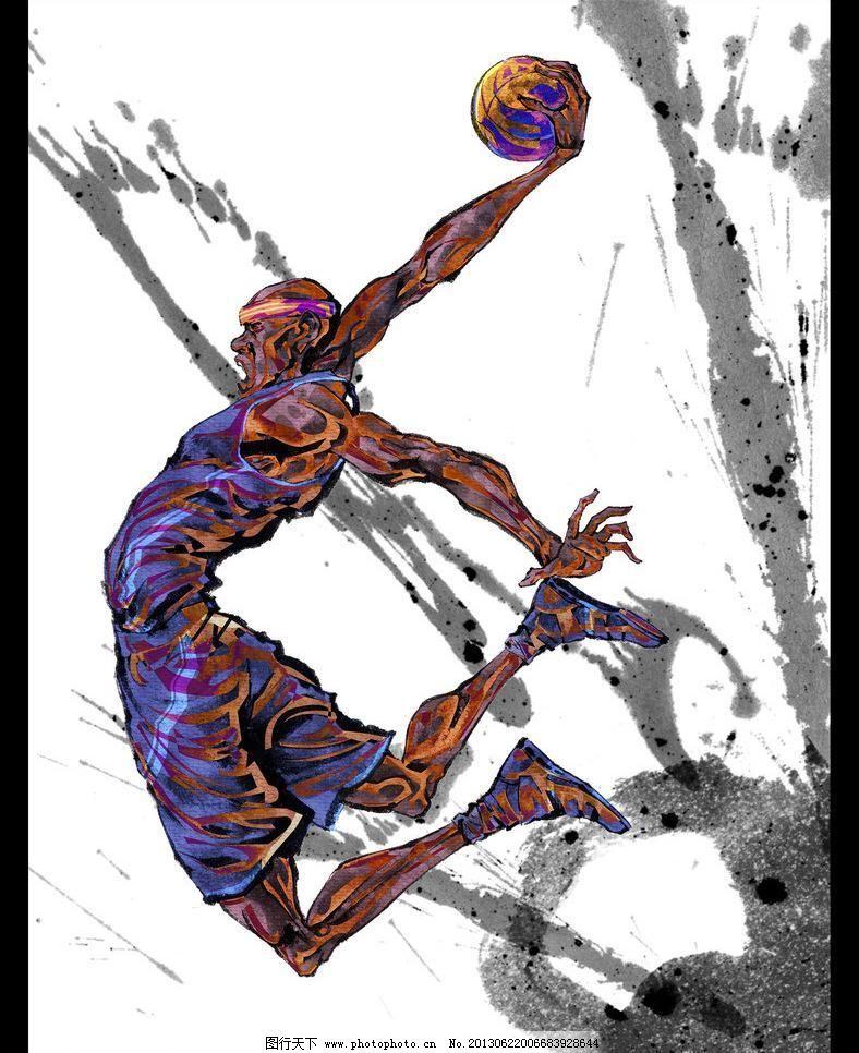 手绘人物篮球运动员图片_手绘海报_海报设计_图行天下