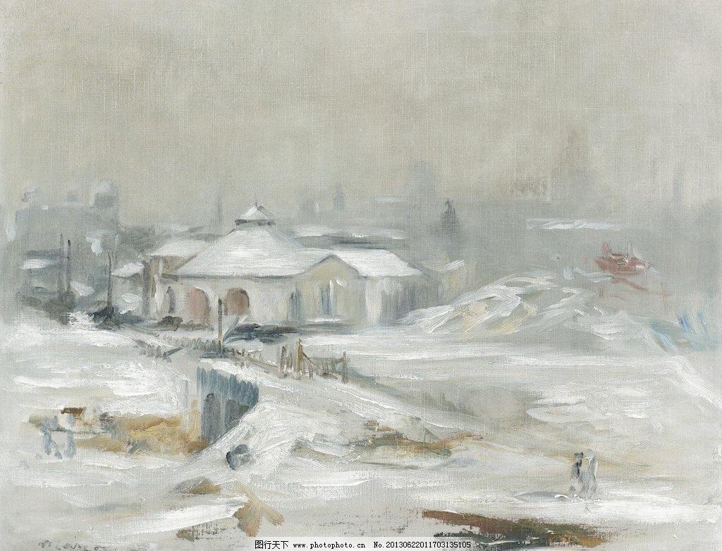 大师画雪的油画风景