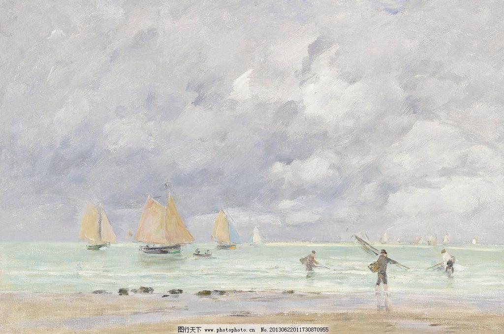 72dpi tif 壁画 大海 帆船 风光 风景 风景画 海边 海滩 海边油画设计