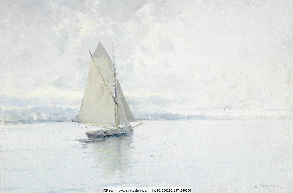72dpi tif 壁画 船只 大海 帆船 帆船油画 风光 风景 风景画 帆船油画