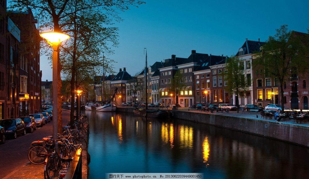 摄影图库 建筑园林 建筑摄影  荷兰小镇 荷兰 小镇 夜景 蓝天 河流