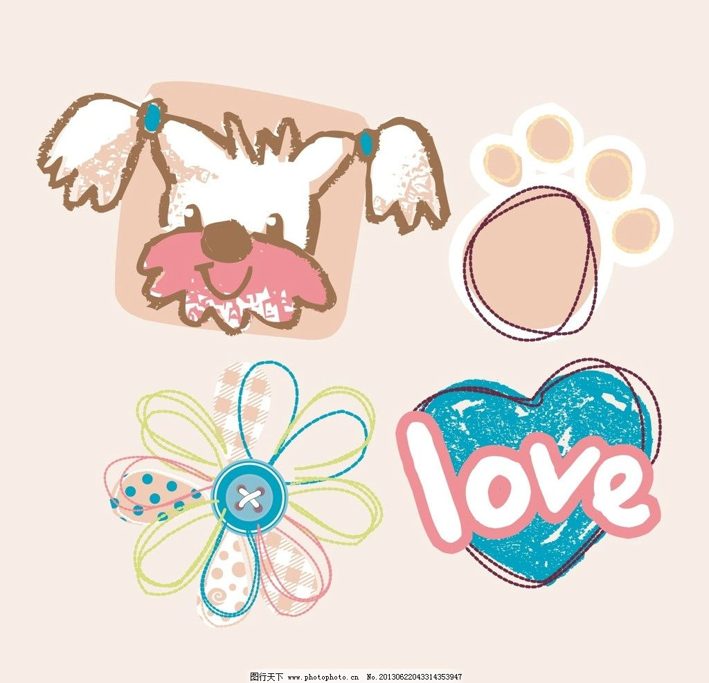 小狗 文字 可爱 脚印 花朵 卡通设计 广告设计 矢量 cdr
