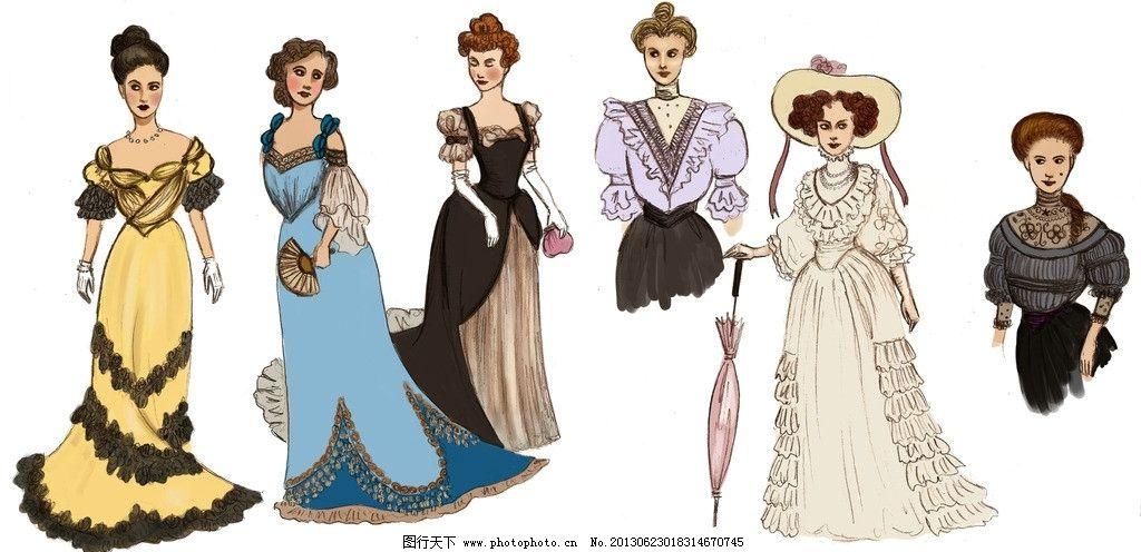 欧洲洛可可服饰 欧洲 洛可可 巴洛克 服装设计插图 19世纪服饰风格图片