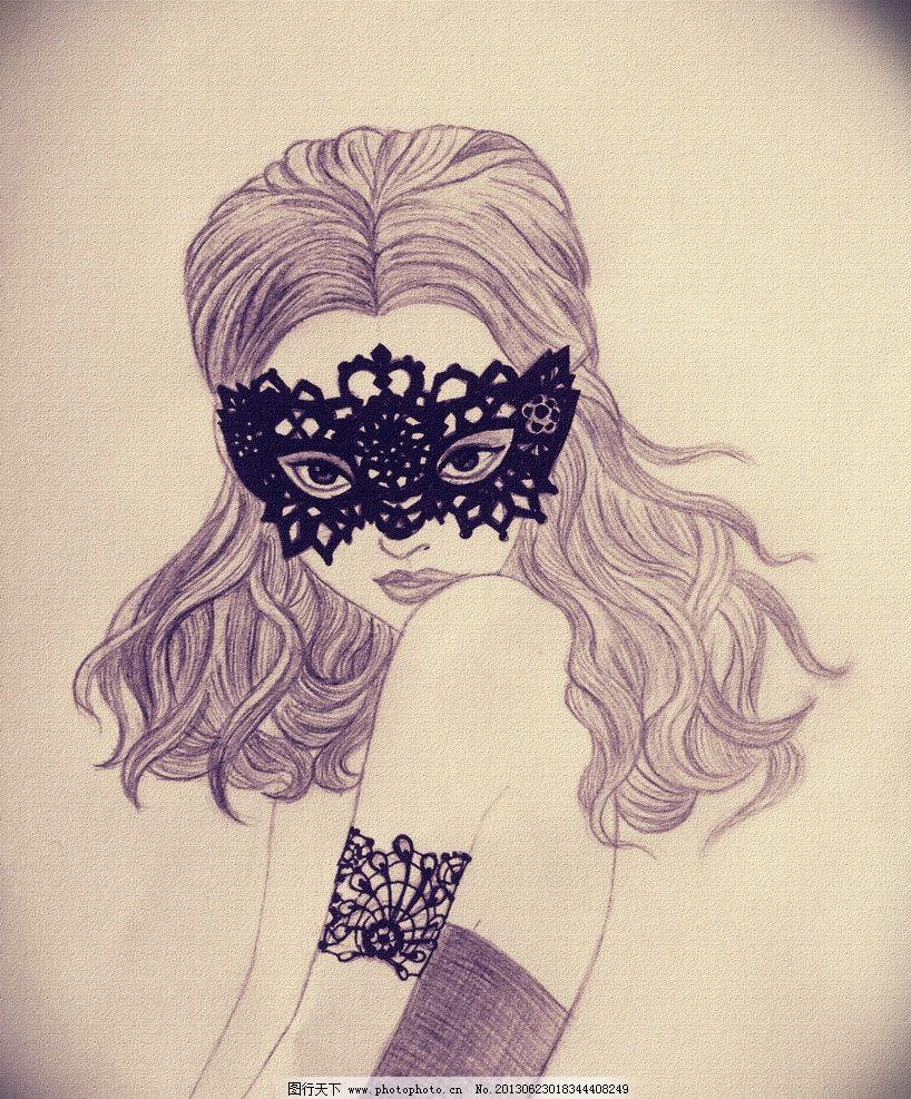面具人物 手绘 铅笔画 面具      少女 动漫人物 动漫动画 设计 72dpi