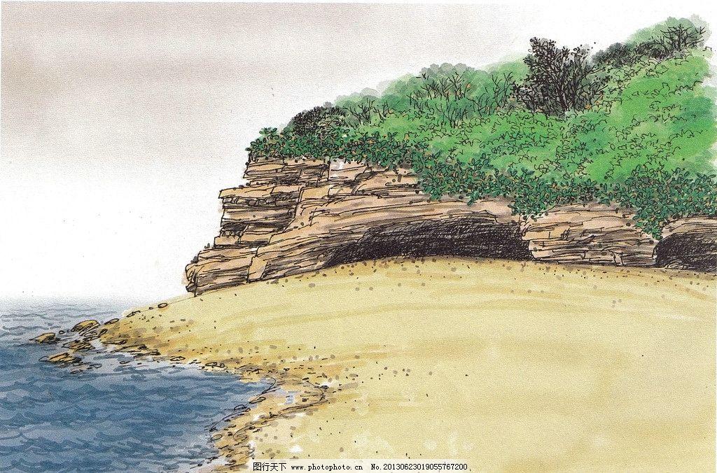 彩海边风景画简单_海边写生 水彩风景 水彩画 淡彩海水 海滩风景 海岸石 风景小品