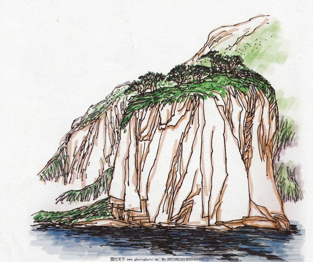 海岸风景 水彩风景 水彩画 海边写生 淡彩海水 海滩风景 海岸石 风景