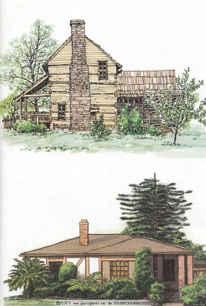 小区景观 建筑景观 景观效果图 景观园林设计 风景水彩 水彩手绘 硬笔