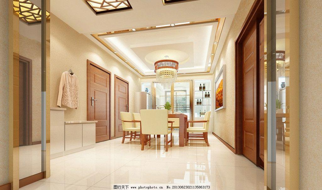 现代中式餐厅效果图图片