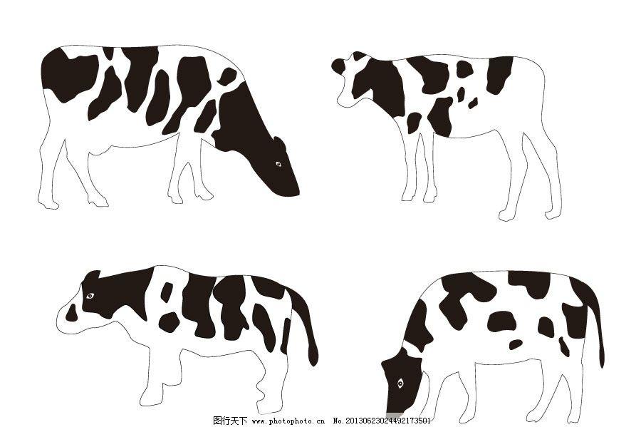 奶牛 牛 奶牛矢量素材 奶牛模板下载 奶牛乳牛 可爱动物 插画 背景画