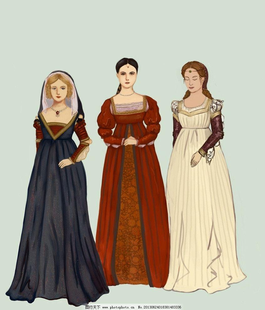 欧洲中世纪服饰插图 文艺复兴 服装设计 手绘服装 意大利 动漫动画
