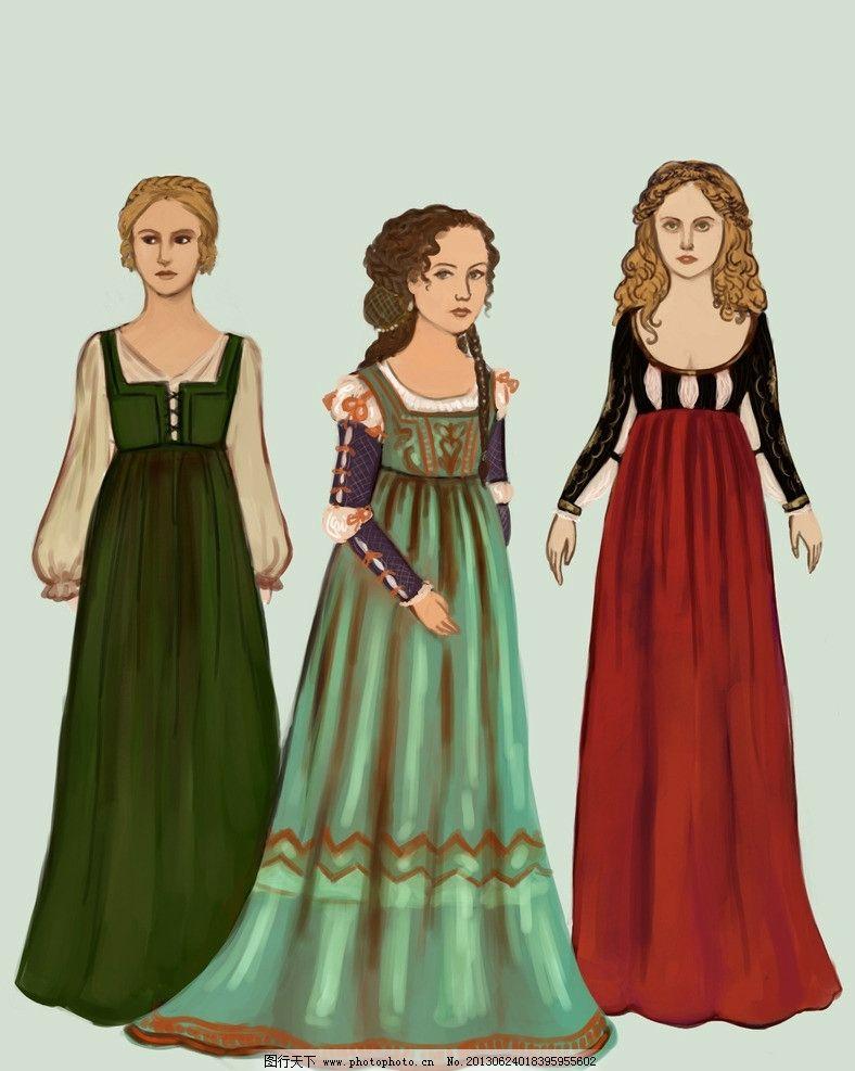 欧洲文艺复兴服饰插图 中世纪 服装设计 意大利 紧胸衣 服装设计手稿图片