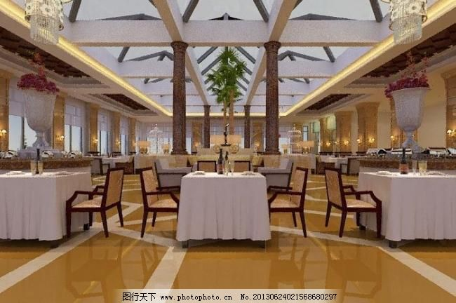 餐馆 宾馆 餐厅 大堂 大厅 大厅吊顶 地面拼花 饭店 餐馆素材下载