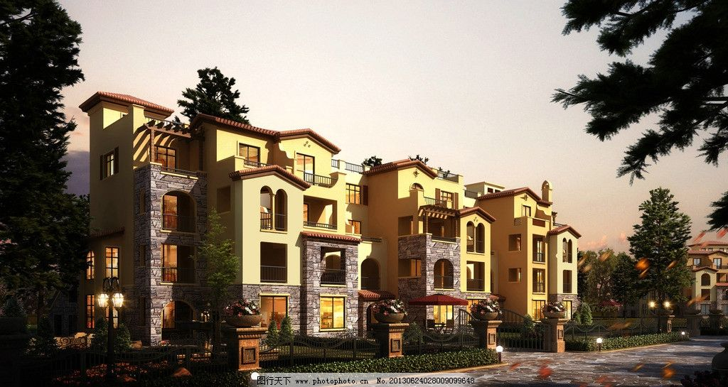 建筑设计 联排 别墅 欧式 典雅 建筑 商业 楼房外立面 环境设计 设计