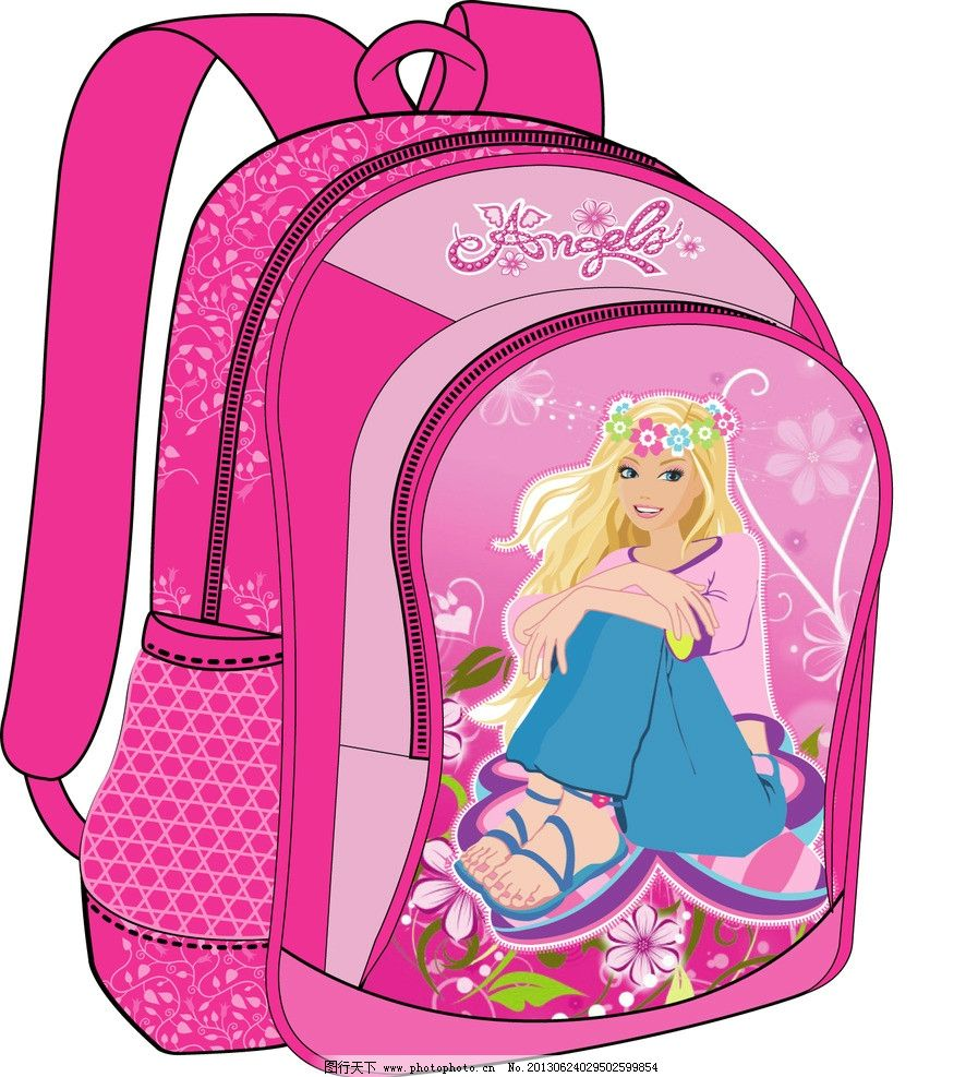 卡通女孩书包 小女孩卡通书包矢量图 卡通小女孩 粉色女孩书包设计图