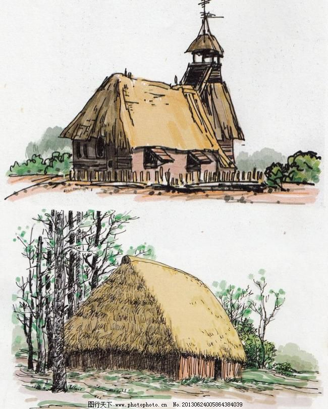 草屋 砖瓦屋 电信杆 风景水彩 水彩手绘 硬笔淡彩 风景写生 钢笔画