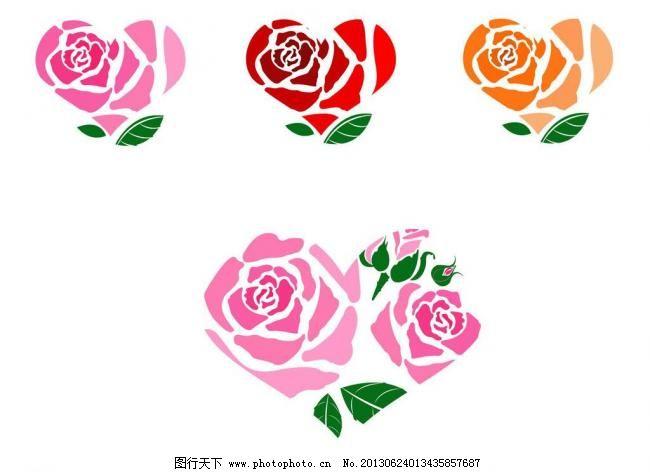 标识标志图标 粉红玫瑰 玫瑰花 情人节 小图标 心型可爱标签矢量素材